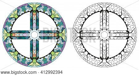 Earth Sign, Astrology Concept Art For Coloring. Tattoo Design. Astrology Concept For Occult Design.