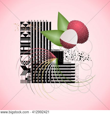 The Letter L And Lychee On A Bright Abstract Background
