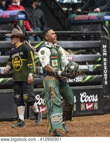 Glendale, Az  March 12, 2021 Keyshawn Whitehorse, Professional Bull Rider After Winning The Event