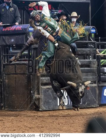 Glendale, Az  March 12, 2021 Keyshawn Whitehorse, Professional Bull Rider On His Way To A Winning Ri