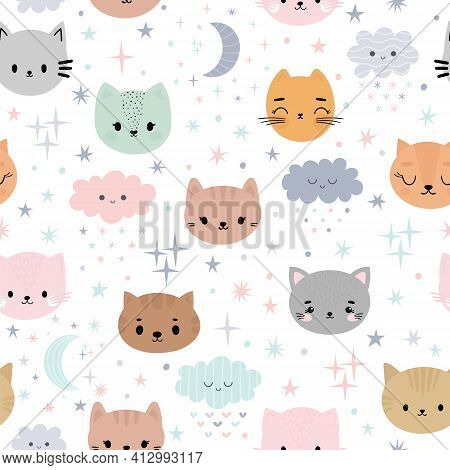 Cute Seamless Pattern For Kids With Cartoon Little Cats. Children Background With Moon, Stars, Kitte