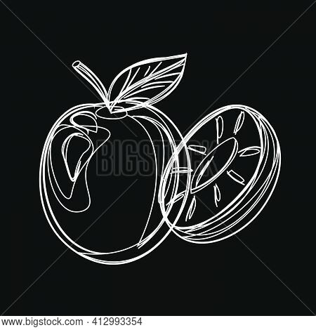 Plum. Chalk On A Blackboard. White On A Black Background. Vegan Icon Set With Fruits And Berries. Pr