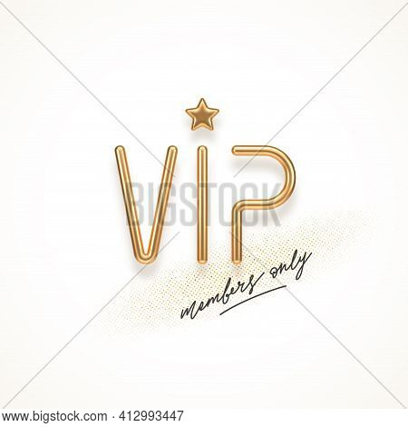 Vip Invitation Template With 3d Golden Letters. Realistic Golden Metal Vip Sign On A White Backgroun