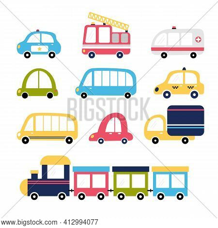 Cute Set Of Cartoon Transports For Kids Design. Collection Of Cars. Fire Truck, Ambulance, Police, T