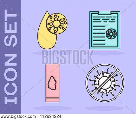 Set Stop Virus, Blood Test And Virus, Blood Test And Virus And Clipboard With Blood Test Results Ico