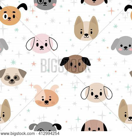 Seamless Pattern With Cartoon Dogs For Kids. Abstract Art Print With Puppies. Hand Drawn Background