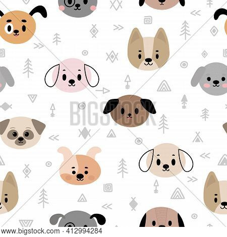 Tribal Seamless Pattern With Cartoon Dogs. Abstract Geometric Art Print. Hand Drawn Ethnic Backgroun