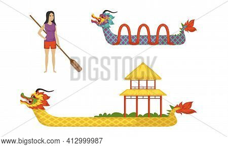 Dragon Boat As Chinese Wooden Watercraft And Female With Oar Vector Set