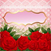illustration background with red roses and lace poster