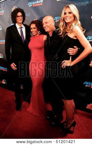 NEW YORK-SEP 11: (L-R) Judges Howard Stern, Mel B., Howie Mandel & Heidi Klum attend pre-show red carpet for