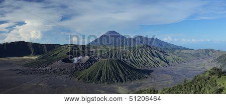 Valley with volcanoes Bromo, Batok and Semeru. Java island, Indonesia
