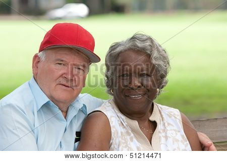 Old Multiracial Couple In Love