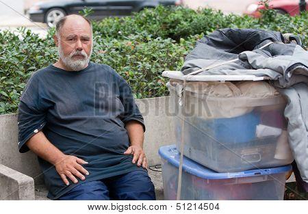 Homeless Man On Streets