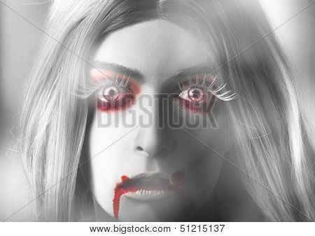 Fine Art Horror. Beautiful Blond Vampire Girl