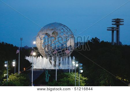 1964 New York World s Fair Unisphere at night in Flushing Meadows Park