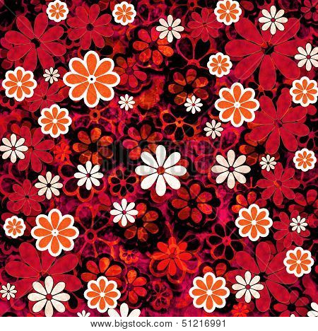 Nature Floral Pattern Red