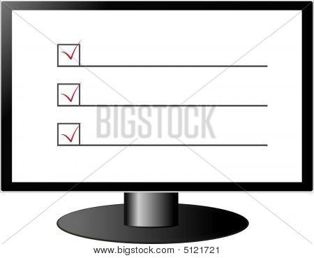 Prüfung der Liste auf dem Bildschirm
