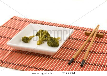 Broccolli Dish With Chinese Chopsticks