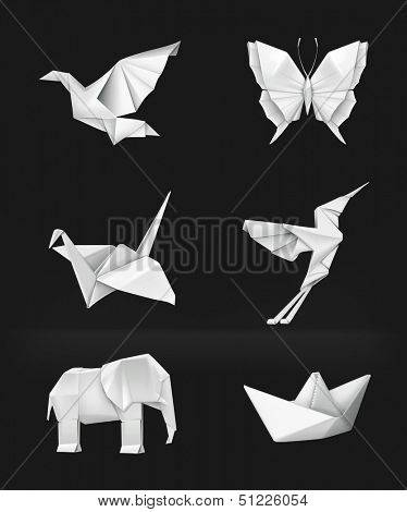Origami vector set, on black