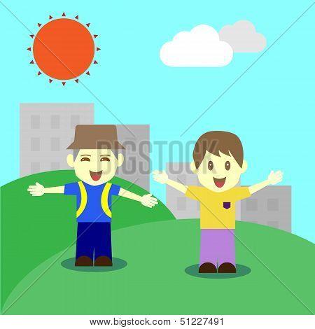 Happy Children In Fine Day