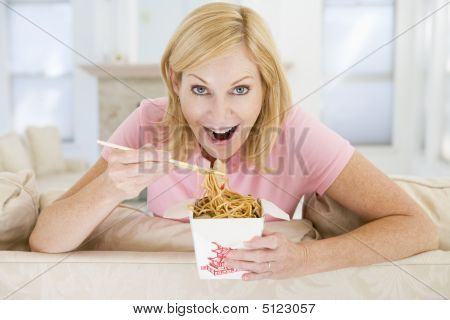 Woman Eating Meal, Mealtime With Chopsticks