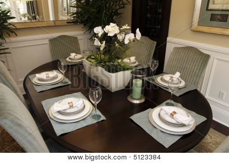 Dining Table With Modern Dinnerware.