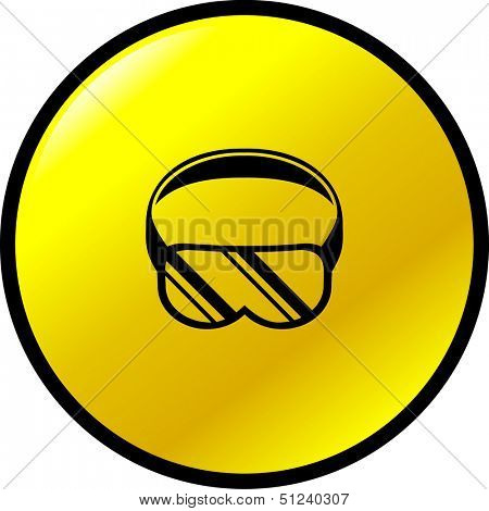scuba diving or eye protection goggles button