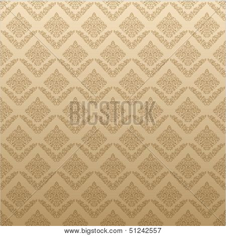 Gold Seamless Floral Elegant Wallpaper, Vintage Pattern Background For Your Design
