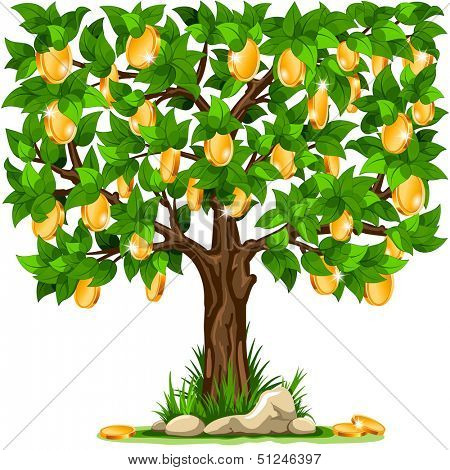 Vector illustration of a money tree with golden coins on white background