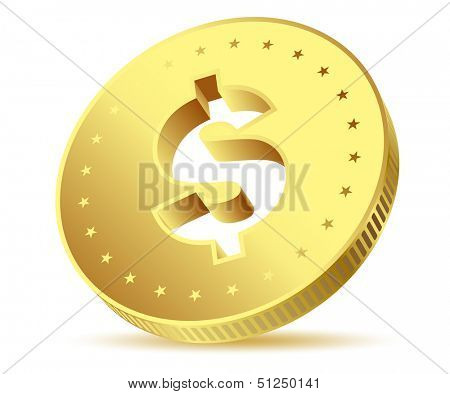 illustration of golden dollar isolated on white background. Vector EPS10.