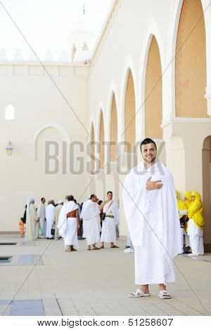 Muslim standing at Meeqat for Hajj