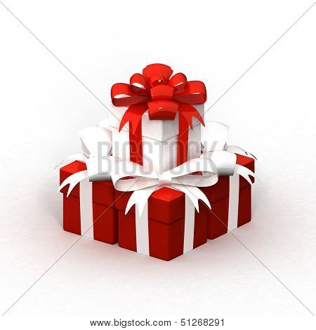Gift boxes with red and white ribbon isolated on white background