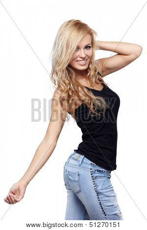 Sexy woman in black shirt posing on white background