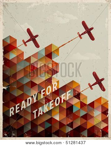 Retro Geometric Pattern with clouds and airplanes