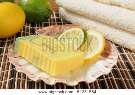 Artisan glycerin soap infused with lemon and lime poster