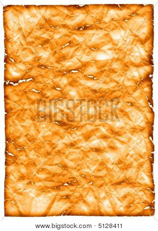 Burnt sheet of crushed paper in yellow-orange tones poster