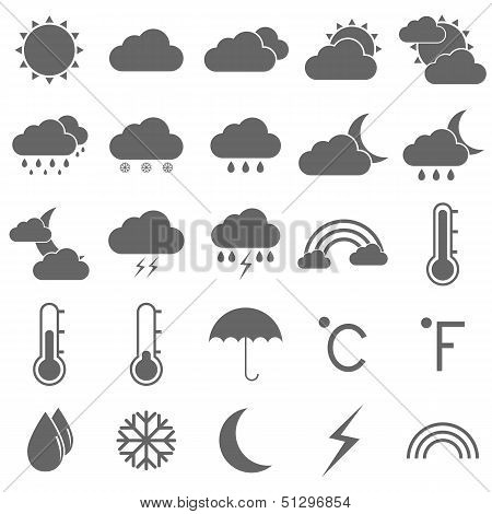 Weather Icons On White Background