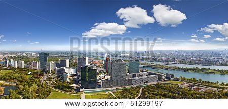 Amazing Skyline Of Donau City Vienna At The Danube River