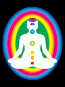 colorful aura with all chakras of body vector illustration poster