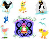 Here is a collection of birds: crow duck penguin bluebird parrot duck seagulls and flamingo. poster