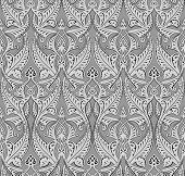 Illustration of seamlessly tiling repeat art nouveau background pattern poster