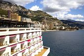 Monaco coastline with beaches and luxury hotels on a background Seashore Alps poster