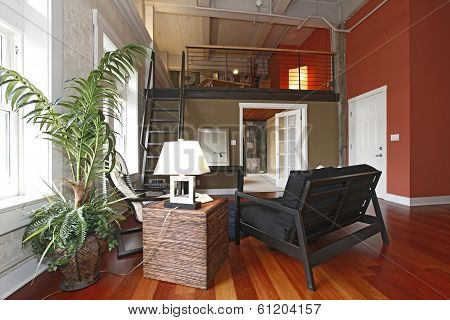 View of modern reconstructed living room with mezzanine. Close up view of Furnished area and palm tree