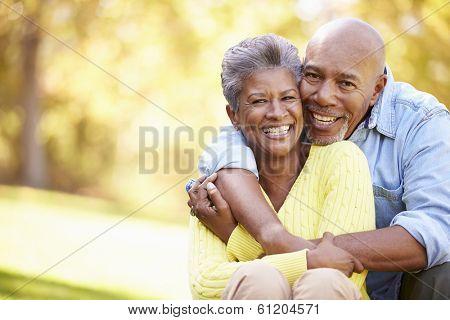 Senior Couple Relaxing In Autumn Landscape