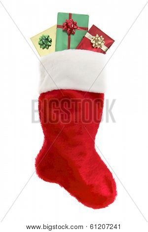 Red stocking with three christmas presents on white background