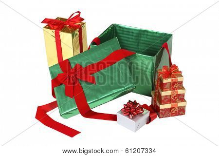 Pile of Christmas presents on white background