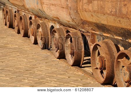 Raw of weels of old mine carts