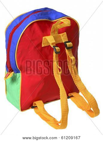 Child's school backpack on white background
