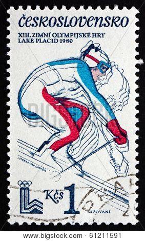 Postage Stamp Czechoslovakia 1980 Downhill Skiing