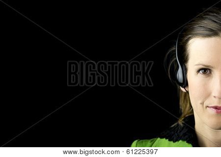 Attractive Woman Wearing A Headset